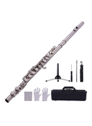 Muslady 16-Hole Silver Plated Flute With Box