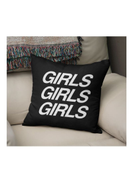 LOUD UNIVERSE Girls Quote Printed Decorative Pillow Black White 16x16inch