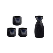dxjsf Vintage Black Ceramic Sake Cup Japanese Sake Set Crafts Sake Cup Cold Hot Tea Sake Cup Japanese Sake Set 4-piece Set