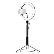 Docooler 26cm 10 Inch 3200K-5600K Bi-color Dimmable Ring Video Light 12W with Black Selfie Stick Tabletop Tripod for Making-up Live Streaming Vlogging Self-portrait Photography