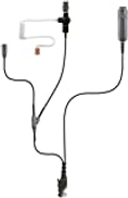 PRYME SPM-3322s 3-Wire Spm-3300 Series Heavy Duty 3-Wire Surveillance Kit: features Acoustic Tube Earphone with Twist Connector, Remote Ptt Switch & Low-Profile Lapel Microphone. Straight Cable, Black