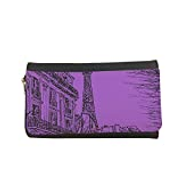 Decalac Abstract drawing of Paris in different colors Printed Leather Case Wallet
