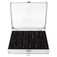Akozon 6 12 Grid Slots Aluminum Rectangle Watch Jewellery Display Storage Organizer Box Case New 1Pc 12 Slots