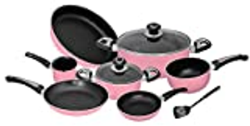 other Ceramic Non Stick Cookware Set 10 Pieces - Pink