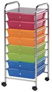 Alvin, SC8MC-12, Wide Storage Organizer Cart - Multicolor, 8 Drawers