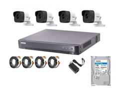 كاميرات HIKVISION 5MP HD 4 ، 4CH DVR ، 1 تيرا بايت HDD ، محولات ، كابل