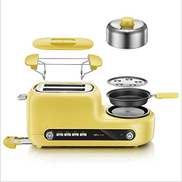 WSJTT 2 Slice Toaster, Stainless Steel Toaster Bagel Toaster Automatic Breakfast Toaster Machine Bread Toaster Fried Egg Steamed Egg Yellow