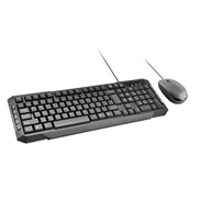 Promate Wired Keyboard and Mouse Combo, Ultra-Sleek USB Full-Sized Combo with Comfortable Quit 104 Keys Multimedia Character for iOS, Windows, PC, EasyKey-3 Black