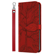 Mylne Embossing Cover for Samsung Galaxy S21,Wallet PU Leather Magnetic Flip Case Tree Pattern Case Card Slots with Stand,Red