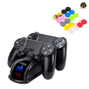 My Genik Controller Charger for PS4 PS4 Slim PS4 Pro,Fast Charging Station Dock for DualShock 4 Controller,Double Charging Station Stand, Come with 20 PCS Colorful Silicone Thumb Grips