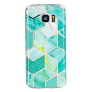 Mylne Marble Case for Samsung Galaxy S7,Bling Electroplated Phone Cover Glossy Flexible Soft Rubber Silicone Bumper Protective Shell For Girls,Green