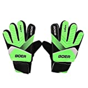 BOER Boys Goalie Gloves Rubber Goalkeeper Football size 7 - Green