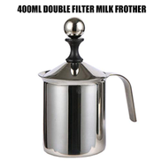 Mainstayae Milk Creamer Frother Handheld Double Mesh Milk Foam Maker Cappuccino Coffee Foam Pitcher Milk Frother with Handle Lid Stainless Steel 400mL 14.1oz Capacity