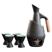 Thermoses Sake Cups Set,7 Pcs Ceramic Sake Set with Warming Pot and Candle Stove,Black Glazed Quaint Texture Traditional Japanese Style Sake Serving Gift Set