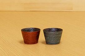 Imari Set of 2 Japanese Arita-yaki Ceramic Sake Ochoko Cups Red and Blue Cloud Glaze from Japan 05808010 05808011