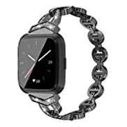Other Compatible for Fitbit Versa Band, Stainless Steel Metal Jewelry Bracelet Bangle Wristband with Diamond Strap Band Compatible with Fitbit Versa Black