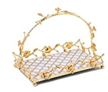 Revan Serving tray with stand Gold and white rectangle 30 cm