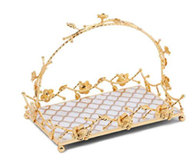 Revan Serving tray with stand Gold and white rectangle 38 cm