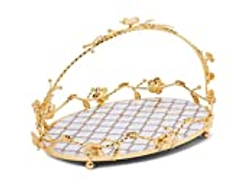 Revan Serving tray with stand Gold and white oval 40 cm