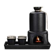 مجموعات المطبخ المطبخ Japanese Pottery Hot Sake Set, Sake Set and Cups with Warmer Keep, with Carrying Bag, black speckled glaze, 8 Piece Traditional Porcelain, Men's Gifts