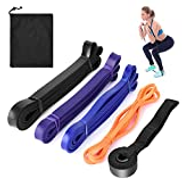 Lixada 4PCS Resistance Loop Band with Door Anchor and Carry Bag Natural Latex Pull Up Assist Band Home Gym Fitness Yoga Strength Training Elastic Exercise Workout Band