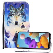 EnjoyCase 3D Effect Wallet Case for Samsung Galaxy A10S,Cool Sunrise Wolf Design Pu Leather Magnetic Closure Wrist Strap Handbag Flip Case Cover with Stand Function