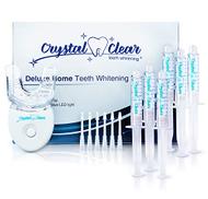 مجموعة جل كريستال كلير لتبييض الاسنان عبوة من 6 قطع مع ضمان استعادة الاموال 35 كرباميد بيروكسيد + تبييض الاسنان الضوئي اكثر من 30 استخداما غير حساسة سريعة المفعول