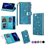 Mylne Zipper Glitter Wallet Case for iPhone 6S Plus 6 Plus,Bling Flip PU Leather Folio Cover Shiny Magnetic Girls Stand Bumper with 9 Card Slots and Wrist Strap,Blue