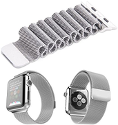 MEMORiX Milanese Magnetic Loop Stainless Steel Band For Apple Watch 38mm Silver