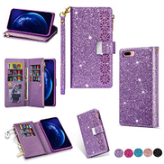 Mylne Zipper Glitter Wallet Case for iPhone 8 Plus 7 Plus,Bling Flip PU Leather Folio Cover Shiny Magnetic Girls Stand Bumper with 9 Card Slots and Wrist Strap,Purple