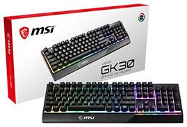 مفاتيح تشغيل سريعة مخصصة للألعاب بإضاءة خلفية من MSI ومضادة للظلال ومقاومة للماء ومقاومة للماء لوحة مفاتيح ألعاب VIGOR GK30 US