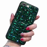 Mylne Sparkle Jewelry Case for Huawei P Smart 2020,3D Handmade Stunning Stones Glitter Crystal Rhinestone Bling Full Diamond Shining Cover Bumper,Green