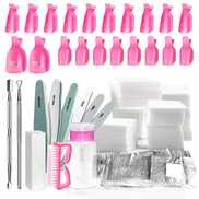 Spove Gel Nail Polish Polish Remover Tools Kit With Clips, Nail Wipes, Cutter, Pump, Nail Buffer Shiner Files,Brush for Acetone Acrylic Nails Remover Tool Kit