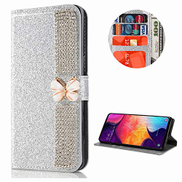 Mylne Diamond Case for Huawei Y6P,Glitter Rhinestone Chain Butterfly PU Leather Folio Flip Wallet Cover Magnetic Closure Card Slots,Silver