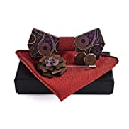 Other Classic Wood Bowtie and Handkerchief and Brooch Cufflinks Sets for Mens Suit Wooden Bow Tie Bowknots Wedding Party Ties