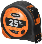 Keson PG2510 Economy Series Short Tape Measure with Lacquer Coated Steel Blade Graduations: ft, 1 10, 1 100, 1-Inch by 25-Foot