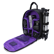 G-raphy Camera Bag Camera Backpack with Rain Cover for DSLR Cameras, Lens, Tripod and Accessories Purple, Small