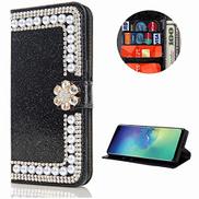 Mylne Diamond Case for Samsung Galaxy A41,Glitter Rhinestone Pearl Flower PU Leather Folio Flip Wallet Cover Magnetic Closure Card Slots,Black