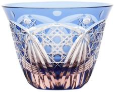 Edo Kiriko glass Japanese Sake cup Guinomi, blue pink