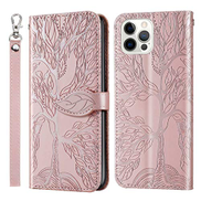Mylne Embossing Cover for iPhone 12 Pro,Wallet PU Leather Magnetic Flip Case Tree Pattern Case Card Slots with Stand,Rose Gold