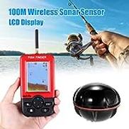 Lixada Fish Finder,100M Wire-less Smart Fish Finder Sonar Sensor Fishfinder LCD Display Multifunctional Practical Fishing Aid Equipment Portable