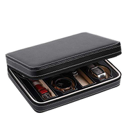 Other PU Leather Roll Traveler's Watch Storage Organizer case with Zipper for 8 Watches Bracelets, Black