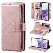 EnjoyCase Wallet Case for Samsung Galaxy S20,Large Capacity 10 Card Slots Multifunction Wallet Purse Design Retro Magnetic Stand Feature Bookstyle Pu Leather Flip Case Cover