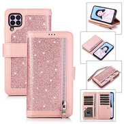 Mylne for Huawei P40 Lite Nova 7i Zipper Wallet Case,Bling Glitter Multi-functional Handbag Pocket Folio PU Leather Stand Flip Cover with 9 Card Slots and Magnetic Wrist Strap
