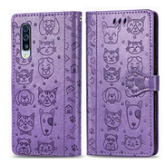 Mylne PU Leather Wallet Case for Samsung Galaxy A50,Cat and Dog Animal Design Embossing Flip Stand Function Cover with Card Slots Magnetic Buckle and Lanyard,Purple