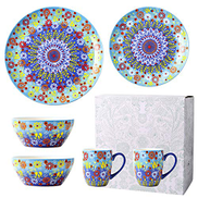 ZZWBOX 6 Pieces - Lead-Free Ceramics Plates, Cups And Bowls - Dinnerware Set For Microwave Dishwasher Disinfector - For Dinners, Parties And Gift,Blue