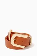 BLACK Hala Double-Buckle Leather Waist Belt