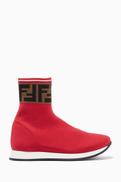 Fendi OUNASS ESSENTIALS Red Logo Sock Sneakers