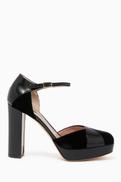 Giorgio Armani Leather & Velvet Platform Pumps
