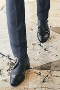 Black Signature Italian Leather Toe Rose Monk Shoes